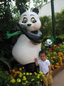 with cute panda statue