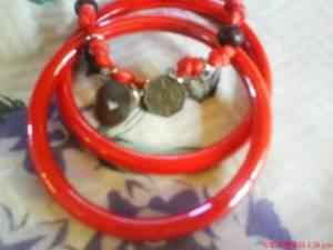 Red bangles & charm by Holistiq~